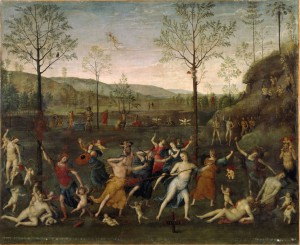 Attributed to Perugino<br /><i>The Battle of Love and Chastity</i>, 1503<br />Oil on canvas, 160 x 191 cm (63 x 75 1/5 in.)<br />Musée du Louvre, Paris