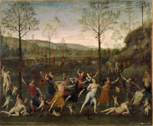 Attributed to Perugino The Battle of Love and Chastity, 1503                          Oil on canvas, 160 x 191 cm (63 x 75 1/5 in.)                         Musée du Louvre, Paris