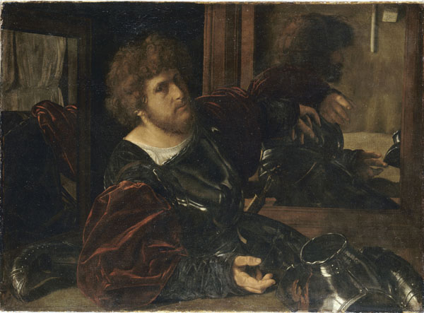 Giovanni Girolamo Savoldo<br /><i>Self-portrait</i>, formerly known as <i>Portrait of Gaston de Foix</i>, c. 1529<br />Oil on canvas, 91 x 123 cm (35 13/16 x 48 7/16 in.)<br />Musée du Louvre, Paris<br />Réunion des Musées Nationaux/Art Resource, NY