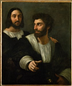 Raphael<br /><i>Raphael (self-portrait) and His Fencing Master</i>, c. 1518<br />Oil on canvas, 99 x 83 cm (39 x 32 7/10 in.)<br />Musée du Louvre, Paris<br />Erich Lessing/Art Resource, NY