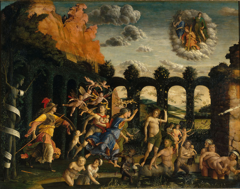 Andrea Mantegna<br /><i>Pallas and the Vices (Minerva Expelling the Vices from the Garden of Virtue)</i>, c. 1499–1502<br />Oil on canvas, 159 x 192 cm (62 3/5 x 75 3/5 in.)<br />Musée du Louvre, Paris<br />Scala/Art Resource, NY