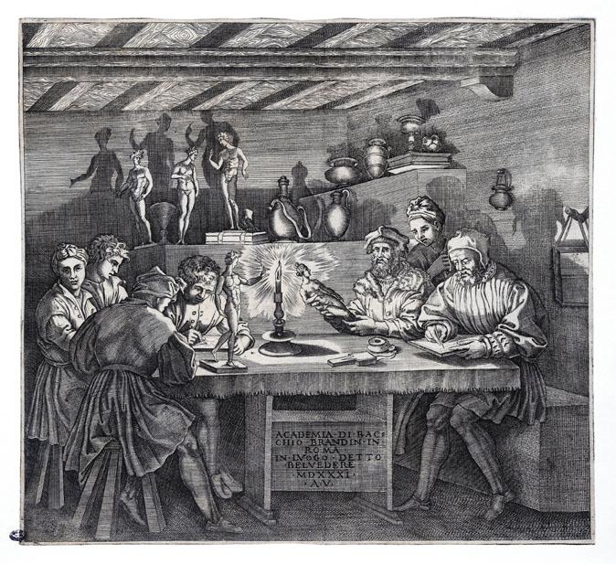 Agostino dei Musi<br /><i>The Academy of Baccio Bandinelli (L'Accademia di Baccio Bandinelli)</i> 1531<br />Engraving, 27.3 x 29.9 cm (10 3/4 x 11 13/16 in.)<br />Biblioteca Marucelliana, Florence<br />© DeA Picture Library/Art Resource, NY