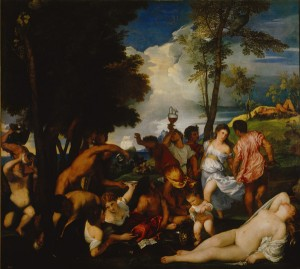 Titian Bacchanal (The Andrians), 1518–9 Oil on canvas, 175 x 193 cm (68 9/10 x 76 in.) Museo del Prado, Madrid Scala/Art Resource, NY