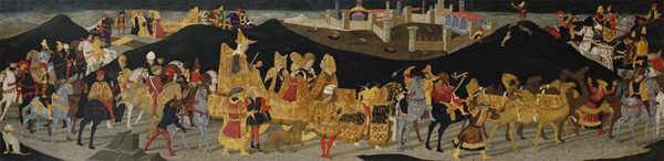 Apollonio di Giovanni and workshop<br /><i>Journey of the Queen of Sheba</i>, c. 1464–5<br />Tempera on panel, 43.2 x 176.2 cm (17 x 69 3/8 in.)<br />Birmingham Museum of Art, Gift of the Samuel H. Kress Foundation