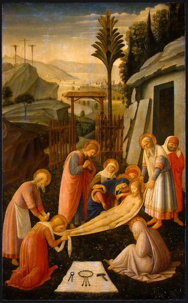 Fra Angelico, attrib.<br /><i>The Entombment of Christ</i>, c. 1450<br />Tempera on panel, 88.9 x 54.9 cm (35 x 21 5/8 in.)<br />National Gallery of Art, Washington, DC, Samuel H. Kress Collection<br />Image courtesy of the Board of Trustees, National Gallery of Art