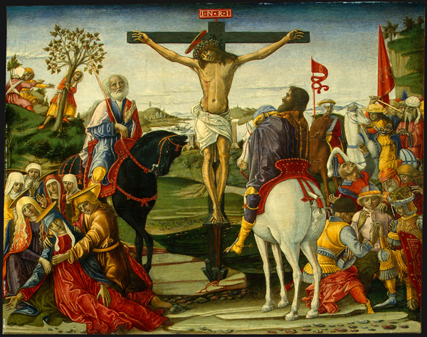 Benvenuto di Giovanni<br /><i>Crucifixion</i>, probably 1491<br />Tempera on panel, 42.6 x 52.8 cm (16 1/4 x 20 13/16 in.)<br />National Gallery of Art, Washington, DC, Samuel H. Kress Collection<br />Image courtesy of the Board of Trustees, National Gallery of Art