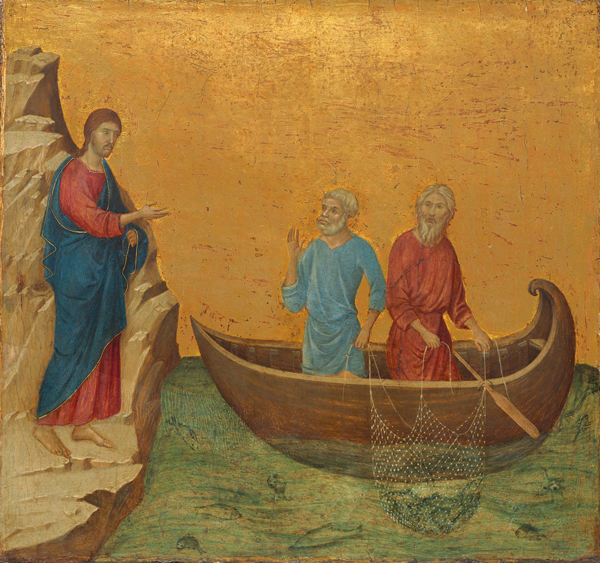 Duccio<br /><i>The Calling of the Apostles Peter and Andrew</i>, 1308/11<br />Tempera on panel, 43.5 x 46 cm (17 1/8 x 18 1/8 in.)<br />National Gallery of Art, Washington, DC, Samuel H. Kress Collection<br />Image courtesy of the Board of Trustees, National Gallery of Art