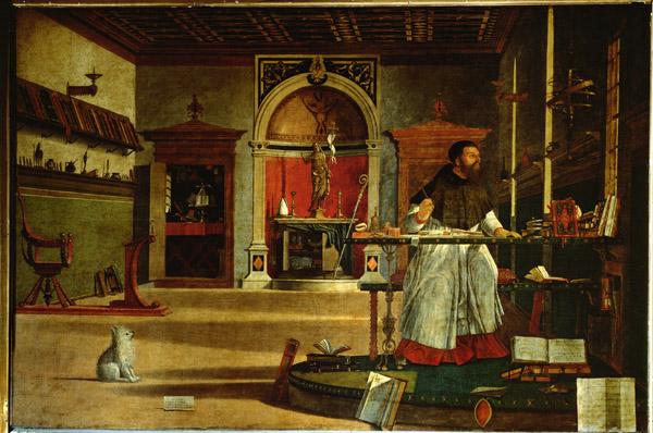 Vittore Carpaccio Saint Augustine's Vision, presumably portrait of Cardinal Bessarion, c. 1502  Oil on canvas, 144 x 208 cm (56 7/10 x 81 9/10 in.) Scuola di S. Giorgio degli Schiavoni, Venice  Erich Lessing/Art Resource, NY